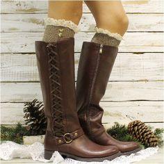 NORDIC tall lace boot sock - brown tweed free shipping too! Fall fashion 2016