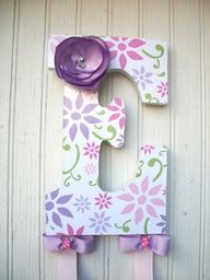 Super cute! Have made before! Wooden letter from Hobby Lobby, paint or mod podge scrap paper, glue ribbon on. Very EASY and cheap!