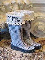 Scalloped Edge Monogram Boot Sock, Liner, and Cuff Knitting Pattern Download