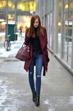 "ecstasymodels: "" Snowy Days OUTFIT DETAILS Medicine coat (similar)Proenza Schouler turtle neck via Gasmy (here)Paige jeans (similar)Givenchy boots via Bruna Rosso (here)Givenchy bag via Bruna Rosso. Winter Coat Outfits, Winter Outfits, Casual Dress Outfits, Stylish Outfits, Minimalist Winter Outfit, Burgundy Outfit, Burgundy Blazer, Maroon Jacket, Vogue"