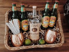 Moscow Mule basket I made for a bridal shower. Copper cups available at bed bath & beyond.