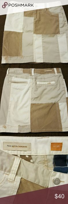 Anthropologie Skirt Tan, white and khaki patch work 98% cotton 2% spandex.  Cute, high quality and comfy. Anthropologie Skirts