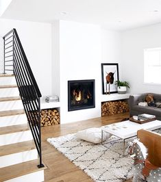 Cozy Living Room with Fire Place - pinned by www.youngandmerri.com