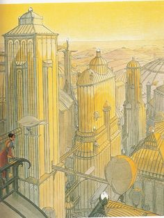 Moebius This portrait cityscape is full of vertical lines that create depth. It is painted with warm yellows suggesting sunset, evening time. The viewpoint is from a rooftop looking down into the composition. Your eyes are drawn past a lady leaning out of a balcony form a rooftop int he mid foreground, through the buildings into the heart of the city.
