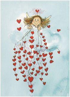 Angel of hearts.my sweet darling Angel Vylette Moon ❤️🌙❤️ Illustrations, Illustration Art, Art Fantaisiste, Angels Among Us, Guardian Angels, Angel Art, Heart Art, Whimsical Art, Cherub
