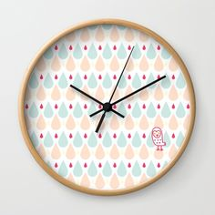 Buy #009 OWLY coloured rain Wall Clock by owlychic. Worldwide shipping available at Society6.com. Just one of millions of high quality products available. #livingrooms #products #today #owlychic  #livingrooms #decors #building #product #clock #wall #wallclocks