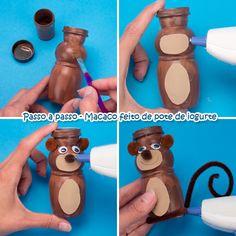 Dicas pra Mamãe: Lembrancinhas para Festa Safari - Animais feitos com Potes de Iogurte