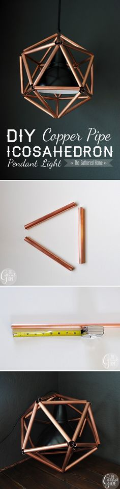 Check out the tutorial on how to make this modern design #DIY #copper pendant light #homedecor @istandarddesign