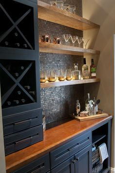 Butler Pantry and Bar Design by Dalton Carpet One Wellborn Cabinets- Cabinet Finish: Maple Bleu; Popular Kitchen Colors, Wellborn Cabinets, Ikea Built In, Basement Bar Designs, Wet Bar Designs, Basement Dry Bar Ideas, Bar Designs For Home, Wet Bar Basement, In Home Bar Ideas