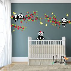 Pandas wall decals with Cherry Blossom Branches and Butterflies, reusable kids wall decals, nursery decals by wordybirdstudios on Etsy https://www.etsy.com/listing/180098086/pandas-wall-decals-with-cherry-blossom
