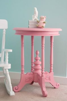 pink table...