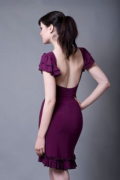 Mauve Dress with a low cut back-Made to Order