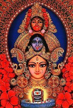 The many aspects of Shakti, including Durga and Kali. Maa Kali Images, Durga Images, Mother Kali, Divine Mother, Divine Goddess, Goddess Lakshmi, Durga Maa, Shiva Shakti, Namaste