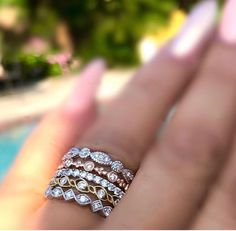 Fun, fashionable stacking rings to personalize your look. Wear as unique wedding ring or to add a touch of glamour to your look. Mix the color of metal to create that perfect stackable ring collection look that is you. Stackable Diamond Rings, Stacking Rings, Jewelry Boards, Jewerly, Gold Rings, Wedding Rings, Glamour, Rose Gold, Touch