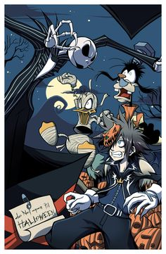 Halloween by ~daniwae on deviantART. Wow....I had to decide if I wanted this in my Kingdom Heats, Disney, or Tim Burton board...Lol. I picked Kingdom Hearts.