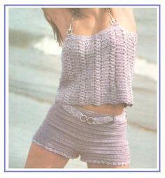 short de croche com grafico ile ilgili görsel sonucu Crochet Pants, Crochet Romper, Thread Crochet, Crochet Clothes, Crochet Lace, Short Tejidos, Bikinis Crochet, Warm Leggings, Crop Top And Shorts