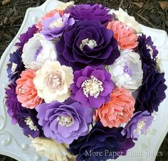 Paper Flower Bouquet - Wedding Bouquet - Shades of Purple and Salmon - Custom Made - Any Color Paper Flowers Wedding, Tissue Paper Flowers, Bridal Flowers, Flower Bouquet Wedding, Diy Flowers, Fabric Flowers, Flower Ideas, Bridal Bouquets, Paper Bouquet
