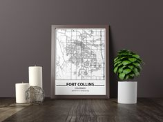 Excited to share the latest addition to my #etsy shop: Fort Collins city map print, Minimalistic wall art poster, Colorado gifts, Birthday Gift, For father, Father Black And White Wall Art, Black And White Posters, Artwork Prints, Poster Prints, Art Posters, Bathroom Artwork, Map Wall Art, Map Art, Iowa City Map