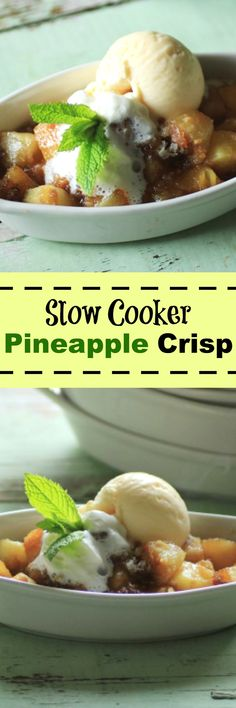 Slow Cooker Pineapple Crisp by Noshing With The Nolands has Ritz craker topping. So good for an easy summer treat!