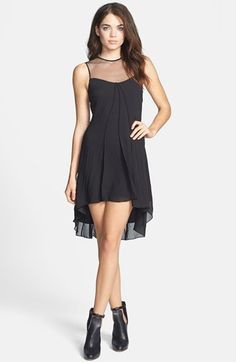 Dress the Population 'Jade' Illusion Yoke Chiffon High/Low Dress available at #Nordstrom