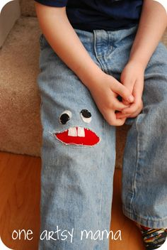 Taking a pair of holy jeans and making them into a cool pair of pants!!  Little Monster | One Artsy Mama