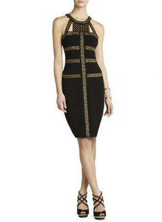Black Sexy Dress - Bqueen Black Rivets Halter Bandage $119
