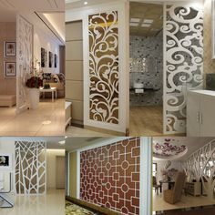 Buy hollow board ceiling carving porch partition flower board white pvc carved flower screen screen in Room Partition Wall, Living Room Partition Design, Room Partition Designs, Ceiling Design Living Room, Living Room Designs, Living Room Divider, Pvc Ceiling Design, Tv Wall Design, Wooden Front Door Design