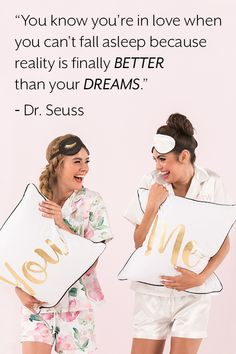 """""""You know you're in love when you can't fall asleep because reality is finally better than your dreams. Bridesmaid Tank Tops, Bridesmaid Headband, Bride Tank Tops, Bridal Party Shirts, Inspirational Quotes About Love, Bridesmaids And Groomsmen, Party Ideas, Dreams, Fall"""