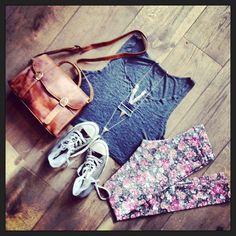 Brandy Melville outfit-grey crop tank,floral leggins,nude bag,brown-grey converse.