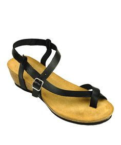 Look at this California Footwear Company Black Clarion Leather Sandal on #zulily today!