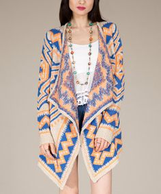 This Beige & Blue Zigzag Open Cardigan by Flying Tomato is perfect! #zulilyfinds