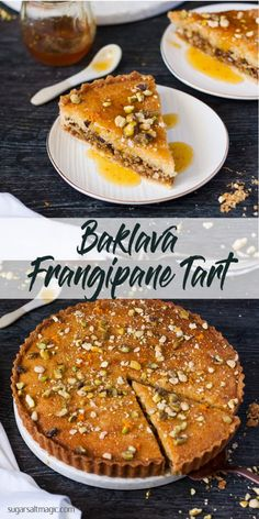 This Baklava Frangipane Tart is a merging of cuisines. Italian Frangipane and Middle Eastern Baklava combine to make a tender, nutty and luscious tart. Greek Desserts, Köstliche Desserts, Delicious Desserts, Yummy Food, Plated Desserts, Ramadan Desserts, Ramadan Recipes, Turkish Recipes, Greek Recipes