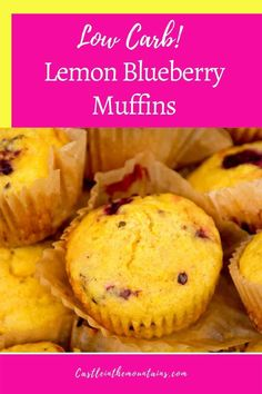 Keto Lemon Blueberry Muffins - Low Carb & Gluten Free. Delicious muffins studded with sweet blueberries and a hint of lemon zest! The taste of Sprin without getting kicked out of Ketosis. #castleinthemountains #easyketo #ketomuffins Lemon Blueberry Muffins, Blue Berry Muffins, Gordon Ramsay, Low Carb Breakfast, Jamie Oliver, Afternoon Snacks, Diet And Nutrition, Recipe Collection, Blueberries