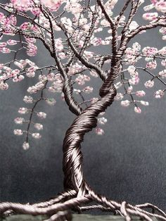deviantART: More Like Mini Blossom Beaded Bonsai Wire Tree Sculpture by ~Creativecravings Cherry Blossom Tree, Blossom Trees, Bonsai Artificial, Bonsai Wire, Art Fil, Wire Tree Sculpture, Wire Sculptures, Bijoux Fil Aluminium, Wire Trees