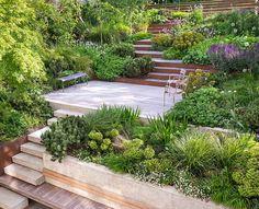 Steep Backyard, Sloped Backyard Landscaping, Terraced Landscaping, Sloped Garden, Small Backyard Gardens, Backyard Patio, Backyard Ideas, Steep Hillside Landscaping, Sloping Backyard