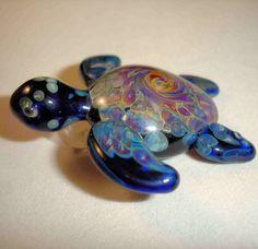 Hand Blown Glass Sea Turtle Lampwork Pendant by JHillsGlassArt, $39.00