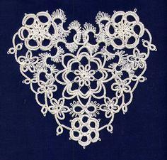 "TatsAmore, Martha Ess: Rococo Heart - ""My version of the Rococo Heart in one of Elgiva Nicholls' books."" #tatting #flower #heart"