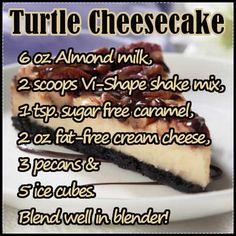 Turtle Cheesecake ViSalus Recipe - going to try sugar free jello cheesecake mix instead of cream cheese