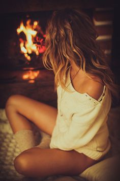 Tan, soft skin, cream sweater, cozy socks, wavy hair and the one you love in front of a fire place. Take me there :)