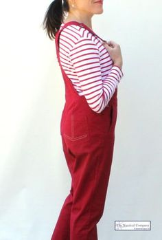 Women's Cotton Overalls, Chilli Red Dungaree by MOUSQUETON GLAZY - THE NAUTICAL COMPANY UK #dungaree #overall #nauticalfashion #red #trendy #stripytop