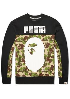 BAPE X Puma Crew Camouflage Sweat A Bathing Ape Sweater Shirt Men's Sweatshirt in Camo Green
