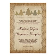 Rustic Country Pine Trees Fall Autumn Wilderness Forest Wedding Invitations