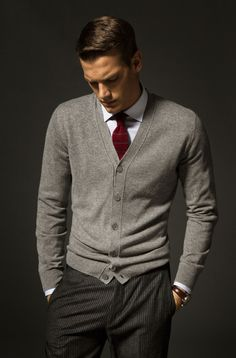 Gray wool cardigan, wool pinstripe trousers, white shirt, burgundy silk necktie.Gentlemen Style. Men's Fashion