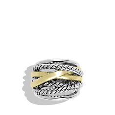 Beautiful David Yurman sterling silver and 14-karat yellow gold ring.