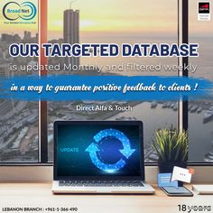Our database is updated monthly and filtered weekly in a way to guarantee positive feedback to clients ! 🎯 Email: sales@broadnet.me Lebanon Branch :+961-1-366-490/1/2 #SMS #targeteddatabase #smsmarketing #bulksms #technology #Lebanon #Beirut