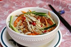 Vermicelli with Pork Skin and Roasted Rice Recipe (Bún Bì) - Pork Skin and Roasted Rice comes from many delicious Vietnamese Noodle Recipes. It is quite strange for some people, but trust me; its flavor is really tasty.   With pork skin and roasted rice (Bì), you can combine with Bánh Mì (bread) or vermicelli or broken rice is all a great choice. One colorful vermicelli bowl with many colorful ingredients not only helps you have a good appetite, but also is really eye-catching.  Ingredients…