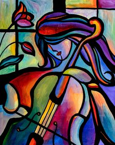 """22 """"x Player Original Acrylic Painting Abstract Cello Musician Art Music by Mike Daneshi. Free delivery to the United States of America and CANADA - 22 x 28 Player Original acrylic painting Cubism Art, Music Painting, Modern Art Paintings, Portrait Paintings, Funky Art, Arte Pop, Saatchi Art, Pop Art, Art Drawings"""