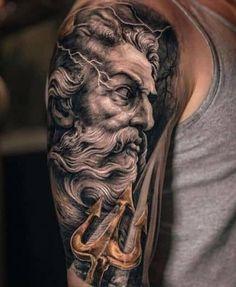 Poseidon Tattoo, Zeus Tattoo, Mom Tattoos, Trendy Tattoos, Black Tattoos, Hand Tattoos, Half Sleeve Tattoos For Guys, Small Tattoos For Guys, Tattoos For Daughters