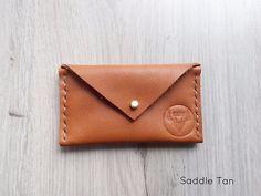 Saddle Tan Envelope Card Wallet by KaruHandmade on Etsy