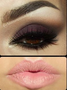 Love the nude lips and how the purple shadow brings out the brown in her eyes! ... Must get my makeup done like this one day :)